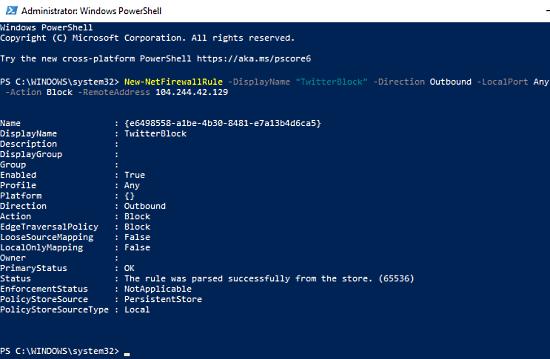 block ip address using powershell