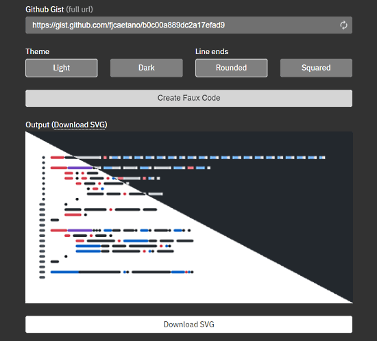 Generate Faux Code SVG from GitHub Gist for Technical Illustrations