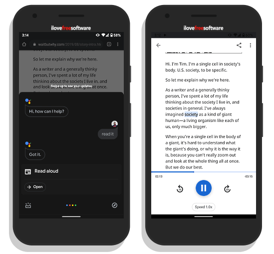 use Google Assistant to read aloud web pages