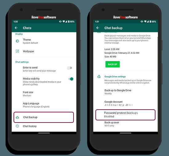 add password to WhatsApp backup