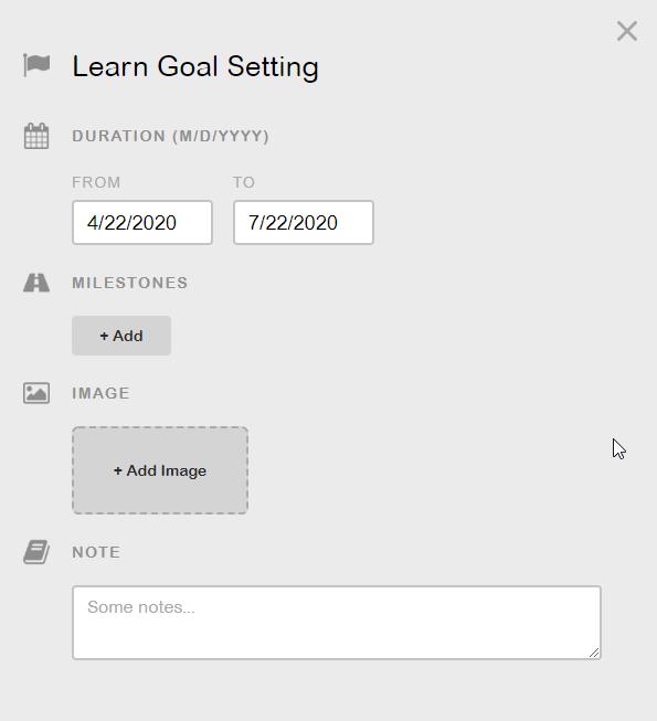 Create a goal in GoalMap