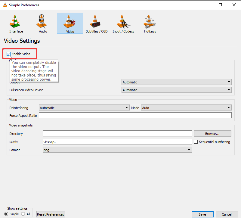 Disable video permanently in VLC Player