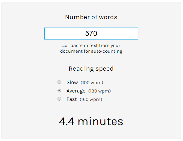 Reading time based on word count