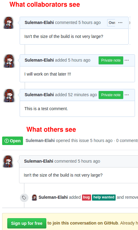 Add Private Notes Comments to GitHub, Only Visible to Collaborators