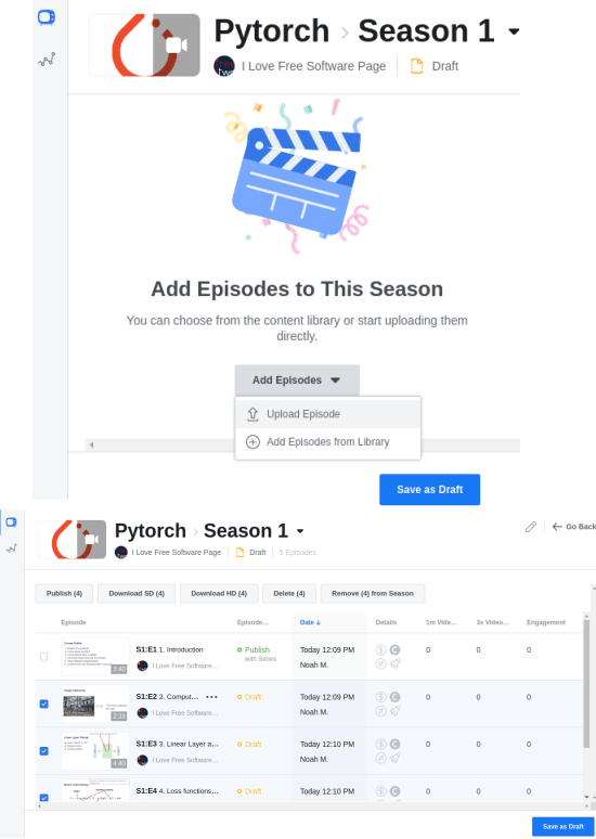 Adding episodes in a season