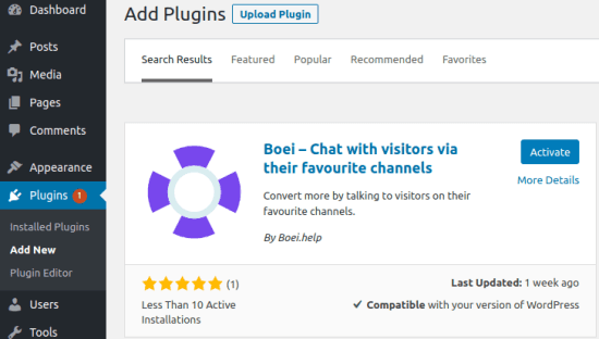 Boei WordPress plugin