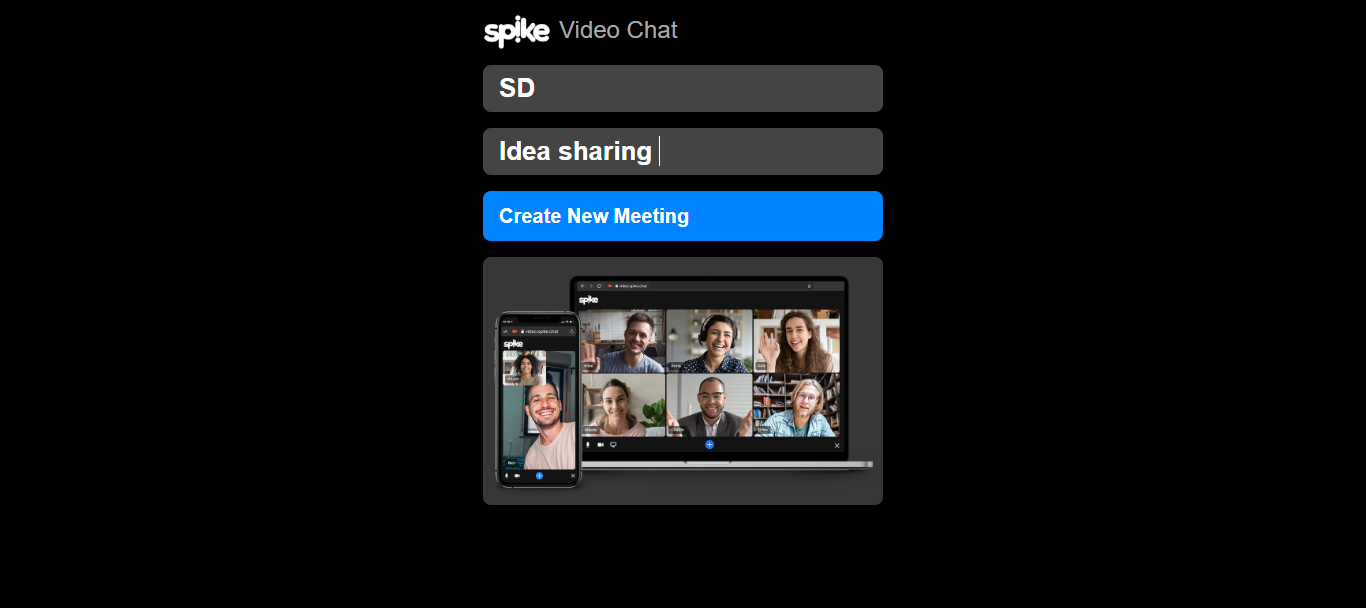 Spike Video Chat Home Page