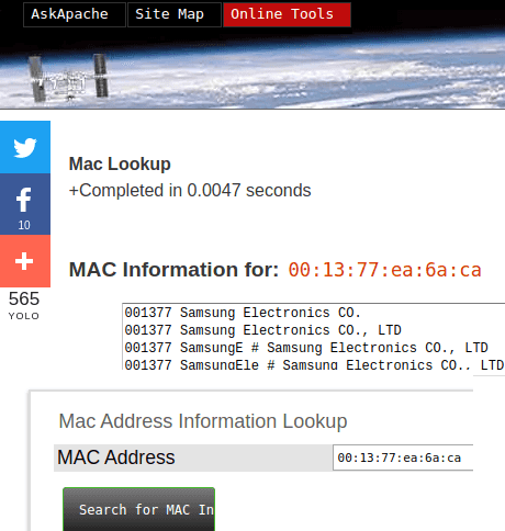 MAC Address Lookup Tool by AskApache 7