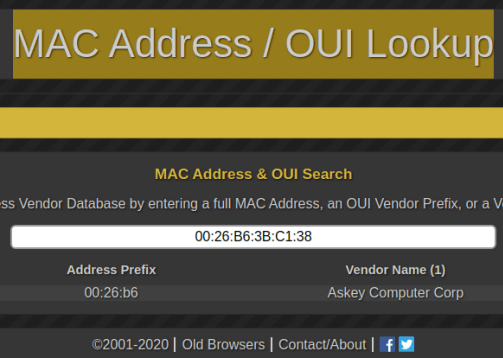 MAC Address Lookup by Whatsmyip 9