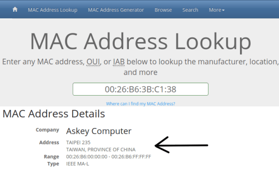 MAC Vendor Lookup 1