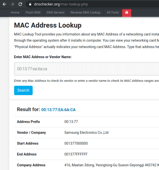 MAC address lookup -5