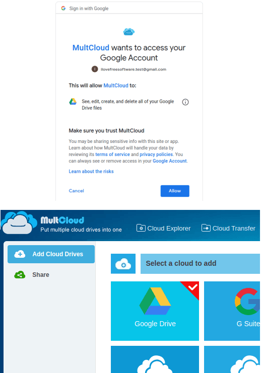 Multcloud Select Google Drive Storage