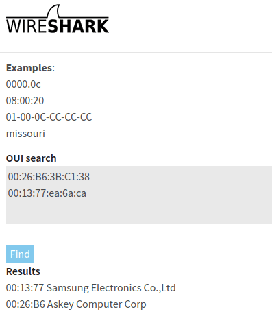 OUI Lookup tool wireshark 3