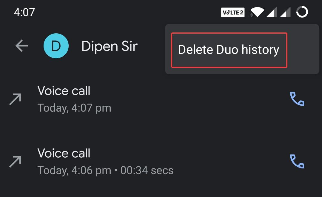 Delete Recent Call Log