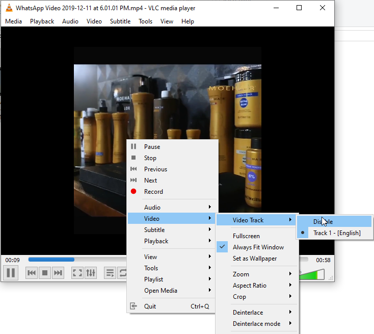 Disable video in the video file