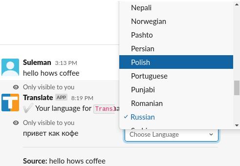 Slack Translation App