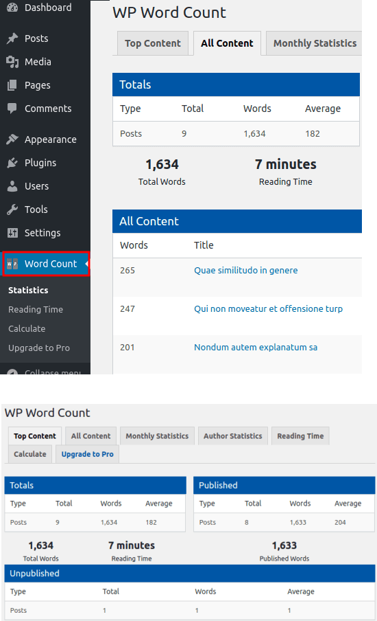 Wp Word Count in action