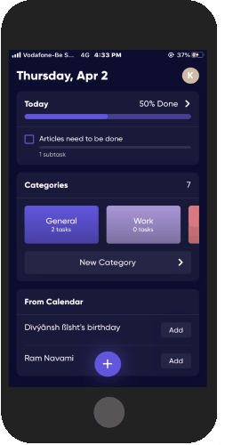 app that shows daily tasks only