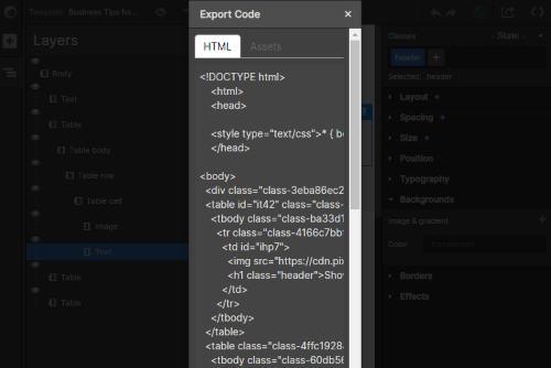 export HTML code in one click