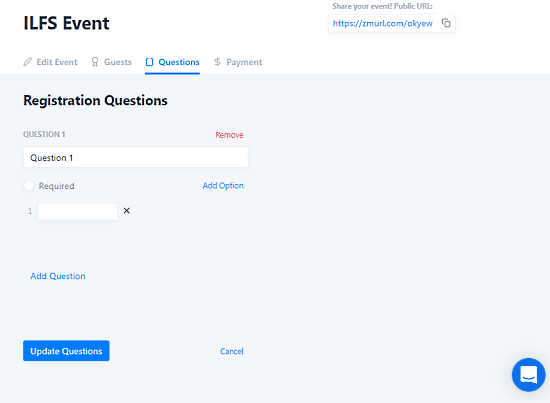 zoom event landing page