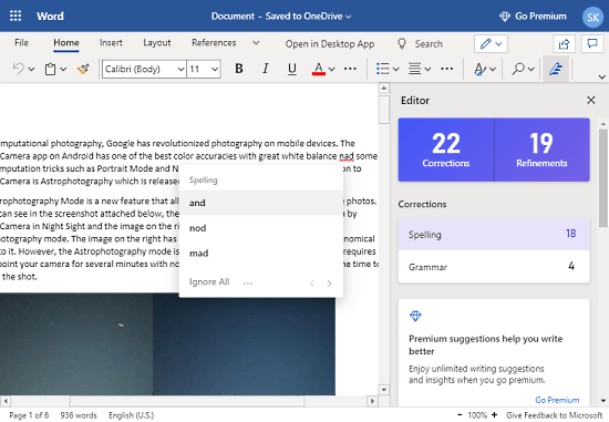 AI-based writing assistant by Microsoft