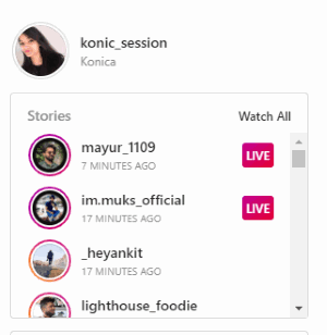 see users live in the stories section