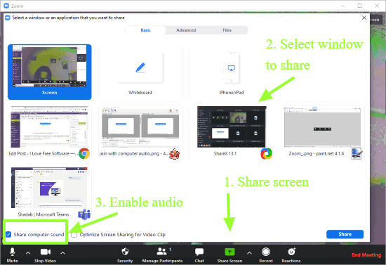 share computer sound with screen sharing in Zoom