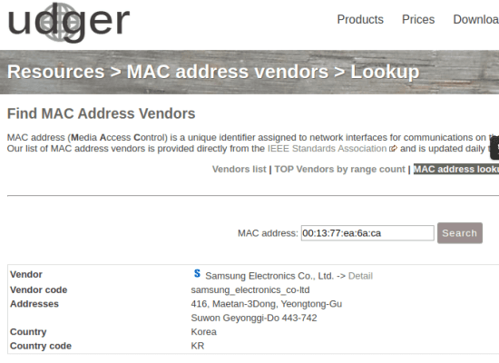 udger mac address lookup in action 6