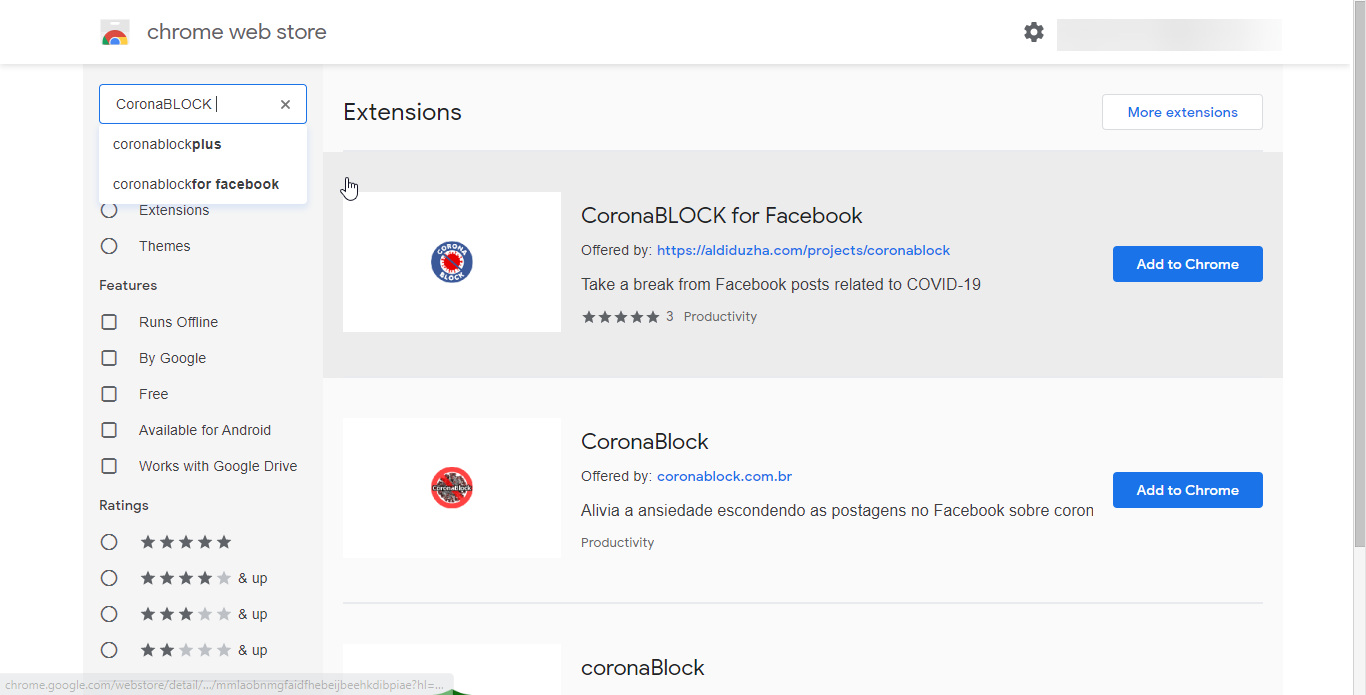 CoronaBLOCK Chrome Extension