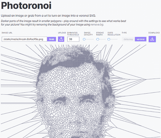 Turn an image into a voronoi SVG