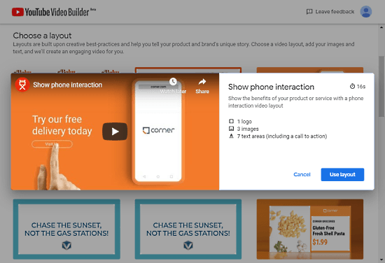 create ads with YouTube Video Builder