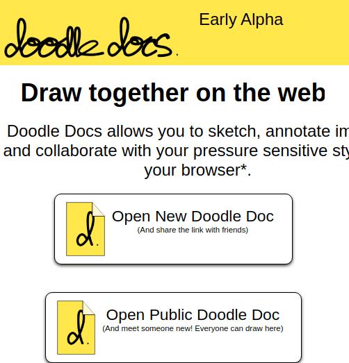 Doodle docs homepage