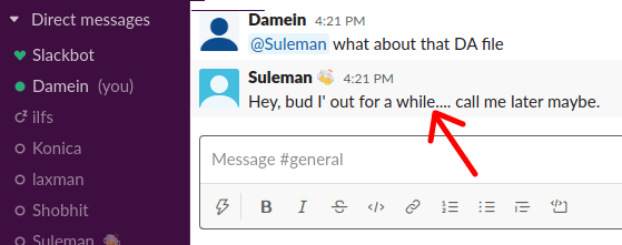 Set OOO Reply in Slack