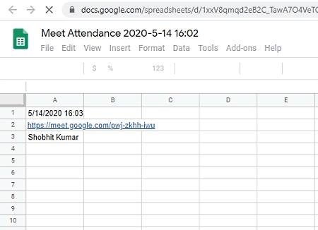 attendance in google meet