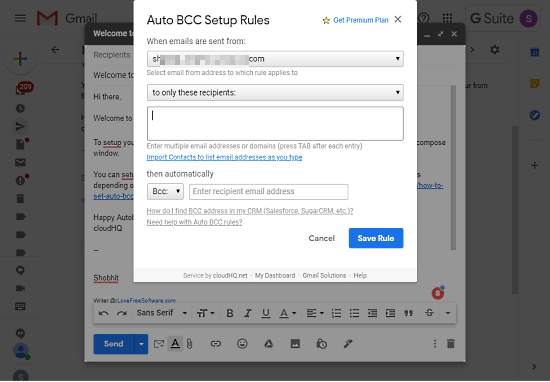 auto bcc in gmail