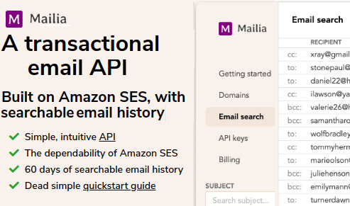 free transactional email api search history