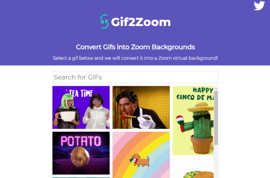 Convert GIF to Zoom Background