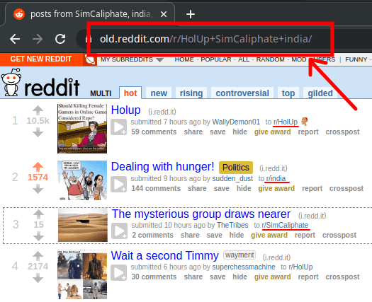 multireddit via URL