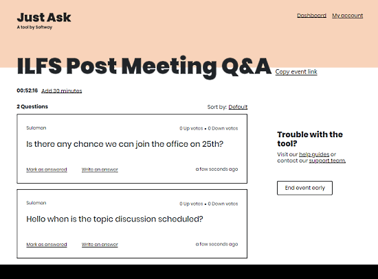 q&a tool for remote meetings