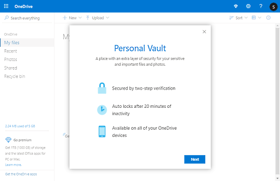 Set Up Your Personal Vault in One Drive