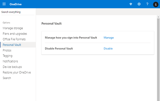 personal vault in one drive
