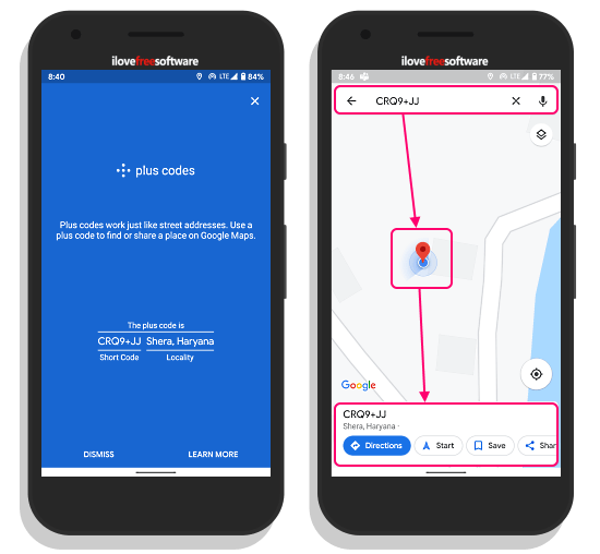 Share Location using Plus Codes in Google Maps