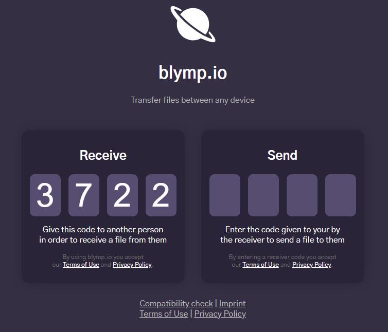 Receive or Send files using Blymp