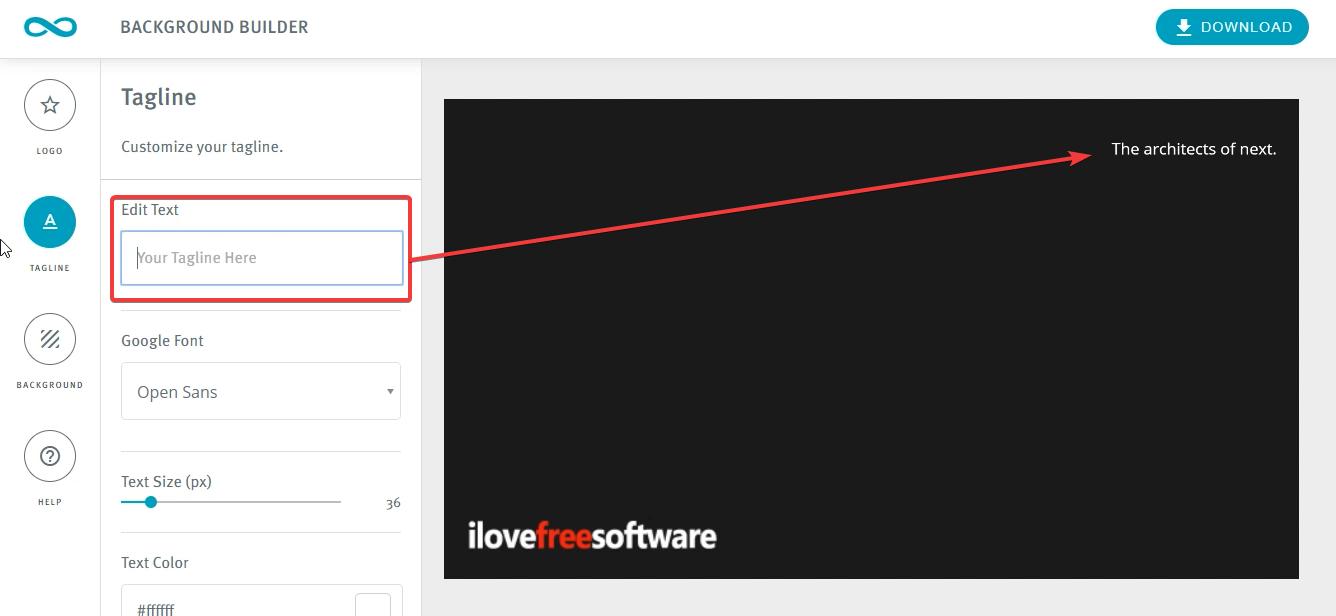 Edit Text- Zoom Background Builder