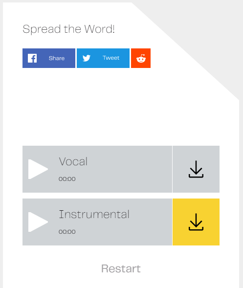 Download the vocals and instrumental separately