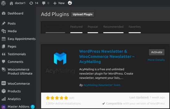 AcyMailing WordPress Plugins Diretory