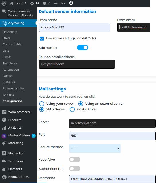 AcyMailing setup smtp server