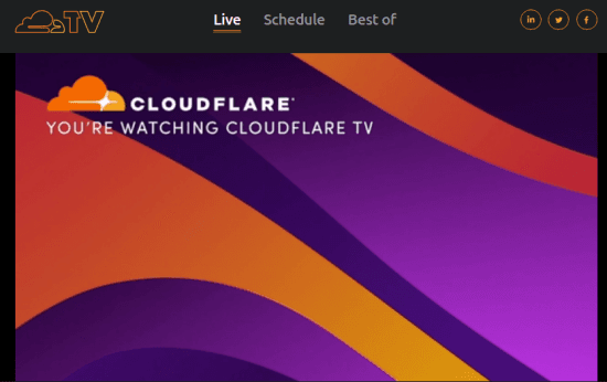 Cloudflare TV for 24x7 Live Television Broadcast for Tech Programs
