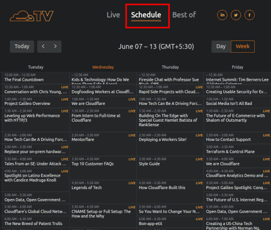 Cloudflare TV schedule