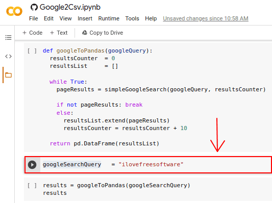 Google2Csv search query